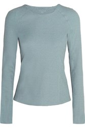 Theory Foxie Ribbed Stretch Jersey Top Blue