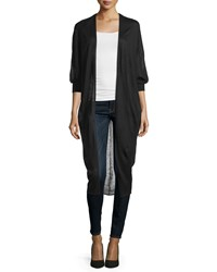 Neiman Marcus Three Quarter Sleeve Cocoon Cardigan Black
