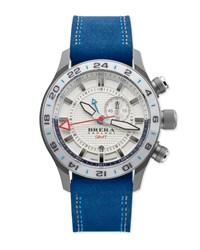 Eterno Gmt Watch With Suede Strap Silver Blue Brera