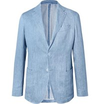 Ermenegildo Zegna Light Blue Unstructured Linen Blazer Blue