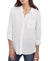 Velvet By Graham And Spencer Solid Button Down Blouse White