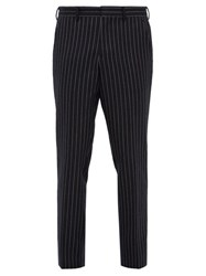 Burberry Chalk Striped Wool Twill Trousers Navy Multi