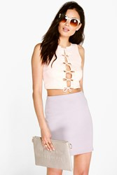 Boohoo Square Lace Up Crop Nude