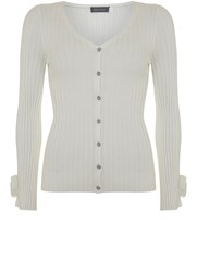 Mint Velvet Ivory Tie Detail Cropped Cardigan Ivory