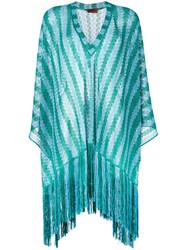 Missoni Fringed Cover Up Women Polyester Cupro Viscose S Blue