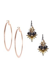 Stella Ruby Contoured Hoop Earrings And Jeweled Cluster Post Earrings Set Metallic