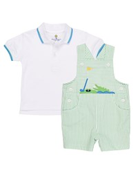 Florence Eiseman Seersucker Golf And Gator Overalls W Polo Shirt Size 3 24 Months Green White