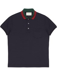 Gucci Cotton Polo With Web Collar Men Cotton Spandex Elastane S Blue