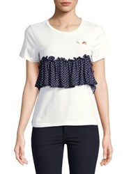 Design Lab Lord And Taylor Bustier Tee White Navy