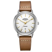 Rotary Men's Avenger Date Leather Strap Watch Brown White
