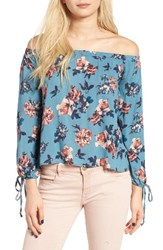 Lush Women's Floral Print Off The Shoulder Blouse