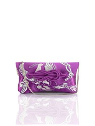Shanghai Tang Phoenix Embroidery Silk Knot Clutch Purple