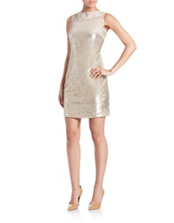 Julia Jordan Sequined Sheath Dress Champagne