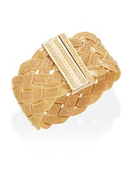 Kenneth Jay Lane Braided Mesh Cuff Bracelet Gold