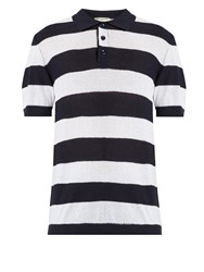 Editions M.R Riviera Striped Fine Knit Polo Shirt Navy Multi