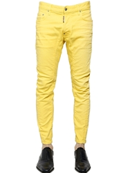 Dsquared 17Cm Biker Stretch Cotton Denim Jeans Yellow