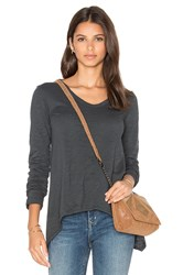 Wilt Slub Shrunken Boyfriend Long Sleeve Top Gray