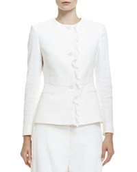 Stella Mccartney Button Front Ruffle Trimmed Jacket White