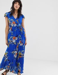 Band Of Gypsies Wrap Front Maxi Dress In Blue Floral Print