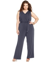 Ny Collection Plus Size Sleeveless Belted Jumpsuit Rich Grey