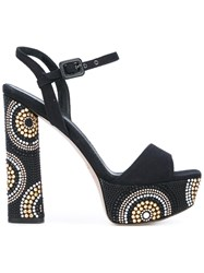Le Silla Studded Block Heel Sandals Women Leather Canvas 36.5 Black