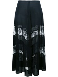 Stella Mccartney Sheer Lace Panel Maxi Skirt Blue