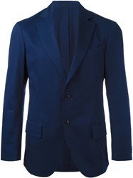 Massimo Piombo Mp Unconstructed Single Button Blazer Blue