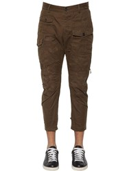 Dsquared 16Cm Sexy Cotton Cargo Pants Military Green