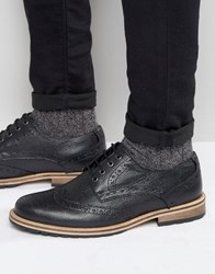 Frank Wright Milled Brogues In Black Leather Black