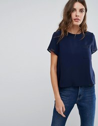 Neon Rose Sheer Insert Tee With Pocket Detail Navy