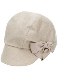 Ca4la Bow Detail Cap Nude And Neutrals