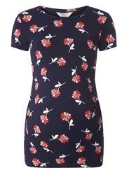 Dorothy Perkins Maternity Ruched Floral T Shirt Blue