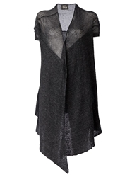 Lost And Found Asymmetric Draped Short Sleeved Cardigan Grey