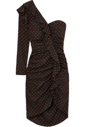 Veronica Beard Leona One Shoulder Ruffled Ruched Polka Dot Silk Dress Black