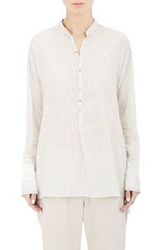 Pas De Calais Striped And Embroidered Combo Blouse Grey