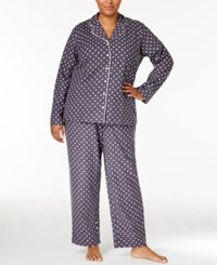 Alfani Plus Size Printed Flannel Pajama Set Only At Macy's Grey Dot