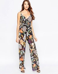 Love Wrap Jumpsuit In Painted Floral Print Painted Floral