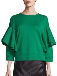 N 21 Ruffle Overlay Solid Blouse Green