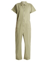 Rachel Comey Barrie Zip Through Cotton Twill Jumpsuit Khaki