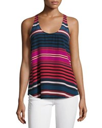 Joie Drew C Striped Silk Tank Top Blue Red Pink Blue Pattern