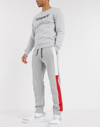 Tommy Jeans Jacquard Flag Cuffed Joggers In Grey Marl