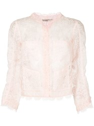 Ermanno Scervino Sheer Lace Cropped Blazer Pink And Purple