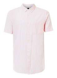 Topman White And Pale Pink Stripe Short Sleeve Casual Shirt