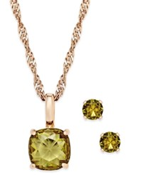 Charter Club Gold Tone Crystal Pendant Necklace And Stud Earrings Set Only At Macy's