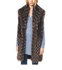 Michael Kors Fox Fur Tweed Vest Chocolate Combo