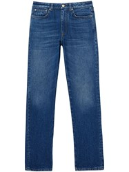 Burberry Straight Fit Logo Detail Jeans Blue
