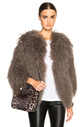 Pam And Gela Mongolian Fur Coat In Brown