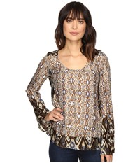Stetson Steel Aztec Border Print Blouse Brown Women's Clothing