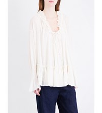 See By Chloe Ruffled Cotton Gauze Blouse Natural White