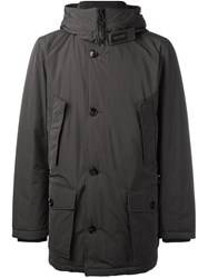 Woolrich Hooded Buttoned Jacket Brown